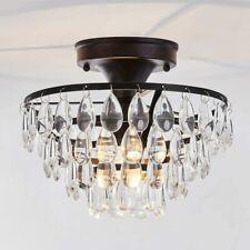 Black Flush Mount Ceiling Light Fixture Modern Metal Chandelier Crystal Semi New