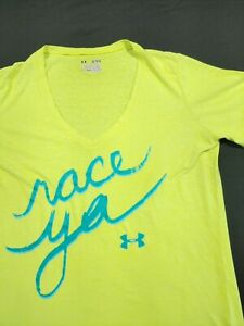 Under Armour Womens Shirt Green Size Extra Large Race Ya V Neck Heat gear Fitted