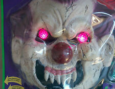 PSYCHO CLOWN MASK EYES LIGHT UP! X-LARGE! FADE IN/OUT HALLOWEEN COSTUME NEW XL