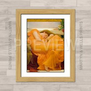 Frederic Leighton framed print: Flaming June. 400x325mm. Textured canvas paper