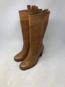 Cole Haan Womens 6.5 B Western Brown Leather Woven Pull On Cowboy Boots