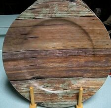 ASHLAND Decorative Charger Plates Rustic Aged WOOD PLANKS Set of (5) BRAND NEW