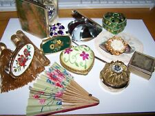 Vtg to Now Vanity Items Lot Trinket Pill Boxes Hinged Mirrors Lipstick Holders