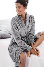 Next Womens Grey Honeycomb SuperSoft Dressing Gown/Robe Size 8-10 Small Long