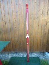 """Vintage Wooden Single Ski 79"""" Long Have Great Red Finish with Binding"""