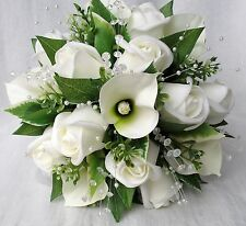 BRIDES POSY BOUQUET, CALA LILIES, IVORY ROSES, ARTIFICIAL WEDDING FLOWERS