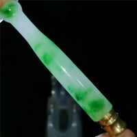 Chinese green jade Jadeite hand-carved pendant necklace statue  cigarette holder