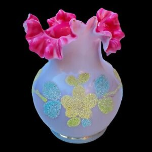 Antique Victorian Coralene Ruffled Top Art Glass Vase 5'T 3.75'W Pink Flowers