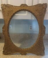 "Antique Victorian Gold Gilt Wood Frame Bubble Convex Glass Fits 19""X15"" Photo"