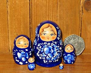Russian Matryoshka NESTING doll Genuine 5 tiny NAVY BLUE  MINIATURE MARCHENKO