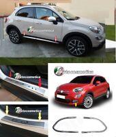 modanature acciaio cromo 4 Minigonne+fendinebbia+4 Battitacco Satinato FIAT 500X