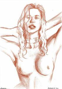 original drawing A4 161BoK art samovar Colored Pencil female nude woman