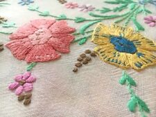 Beautiful,Vintage Hand Embroidered Tablecloth:Raised, handtied flowers.117x126cm