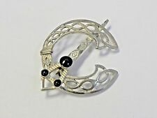 Signed Sterling Silver Round Brooch Black Onyx Arrow Sword Spear Pin