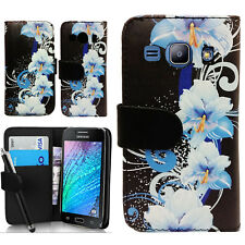Floral Wallet PU Leather Case Cover Pouch For Samsung Galaxy J1 SM-J100 2015