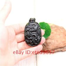 Dragon Phoenix Jade Pendant Gifts Necklace Jewelry Amulet Obsidian Black Natural