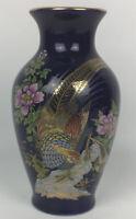 "7"" Vintage Cobalt Blue Porcelain Pheasants Flowers Japanese Vase"