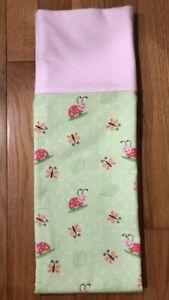 Homemade Flannel Pink & Green Ladybugs Pillowcase -handmade, standard size