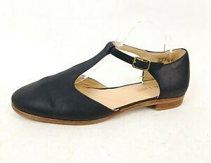 Clarks Ladies T-Bar Shoes UK 8 D Flat Heel Indigo Blue Leather Cushion Plus