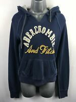 WOMENS ABERCROMBIE & FITCH NAVY BLUE HOODIE HOODED JUMPER SWEATER SIZE SMALL
