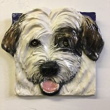 New ListingTibetan Terrier Dog Ceramic Tile Handmade 3d Pet Portrait Sondra Alexander Art