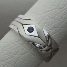 (SOLID STONE MATTE) Unique Puzzle Rings - Sterling Silver - any size