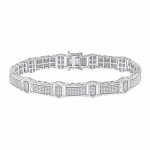 Pure 925 Sterling Silver Men's Round 2.10CT Cubic Zirconia Link Tennis Bracelet