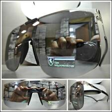 RETRO SHIELD Style Party Rave Club DJ SUN GLASSES Silver Frame Flat Mirror Lens