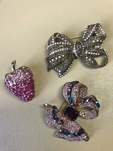 Three sparkly brooches - strawberry, bow one Hobbs