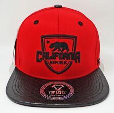 CALI Snapback Cap Hat California Republic Bear Flag Caps Hats Red Black NWT