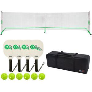 Pro 22ft Outdoor Portable Pickleball Set with Net, 4 Pickleball Paddles & Balls
