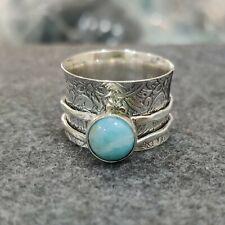 Larimar Ring 925 Sterling Silver Spinner Ring Handmade Ring Size 8 GTT116