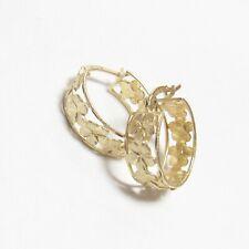 Estate 14K Yellow Gold Detailed Flower Design Hoop Earrings