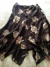 New THE LIMITED Womens SILK Brown Floral Pink Cream Lined Skirt Size 6