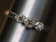 VECCHIO taglio Antico Vittoriano fidanzamento diamante 3 Pietra Anello 9K Oro Platino Taglia