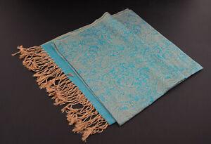 Echarpe étole châle chèche foulard 180x72 cm Népal coton-viscose bleu 9177