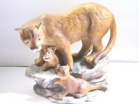 "1994 HOMCO ""MOUNTAIN LIONS"" Masterpiece Porcelain Figurine  Endangered Species"