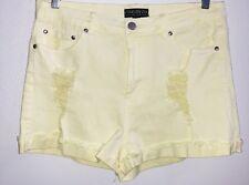 NWT - FOREVER 21 Juniors Plus Yellow Cuffed Distressed Jean Denim Shorts Sz 12