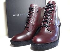 NWT Marc By Marc Jacobs Women Kit Zip Lace Wedge Leather Boot Sz39, Musk Brown