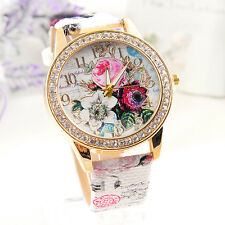 Women Lady Flower Dial Leather Watches Stainless Steel Analog Quartz Wrist Watch