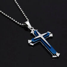 NEW Blue & Silver Stainless Steel Cross Pendant Men's Necklace Chain