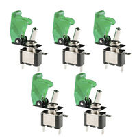 5 X 12V 20A 20Amp Green Cover LED Light Toggle Switch SPST ON/OFF Car Auto