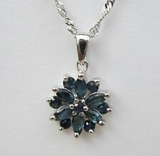 .925 STERLING SILVER GENUINE SAPPHIRE PENDANT / NECKLACE