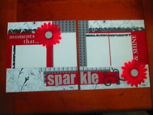 SPARKLE PREMADE SCRAPBOOK PAGES - 2 12 X 12 PAGES - NEW
