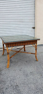 Vintage Multi Color Wicker Burnt Bamboo Square Glass Top Card DiningTable