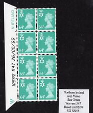 Northern Ireland 64p Sea Green Warrant Block 547 Dated 26 02 99 UM