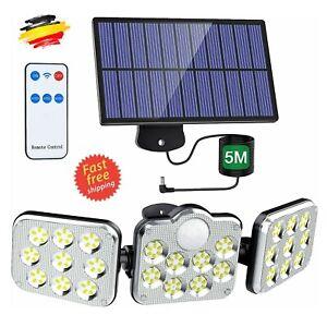 138 LED Solarleuchte Fluter Strahler Mit Bewegungsmelder Solarlampe Außenlampe~