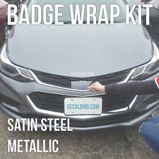 Satin Steel Car Emblem Wrap Kit - Chevy Cruze Sonic Colormatch BowTie Badge 3M