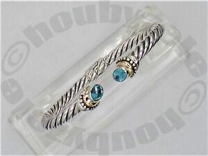 Samuel Benham BJC Sterling 18K Hinged Blue Topaz Cable Bracelet