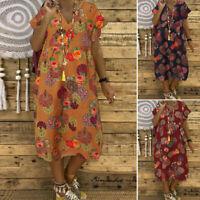 Womens Summer Bohemia Short Sleeve Shirt Dress Retro Floral Print Midi Sundress
